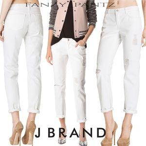 J BRAND jeans Aidan boyfriend white distre…